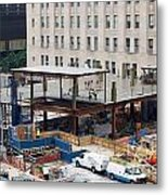 Two Wtc Under Construction Metal Print