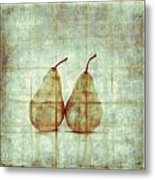 Two Yellow Pears On Folded Linen Metal Print