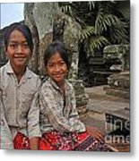 Two Young Cambodian Girls In Angkor Wat Metal Print by Sami Sarkis