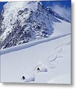 Two Young Men Skiing Untracked Powder Metal Print