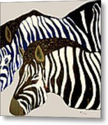 Two Zebras Metal Print