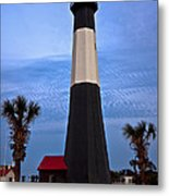 Tybee Light And Palms Metal Print