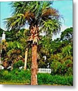 Tybee Palm Metal Print