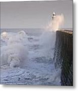 Tynemouth North Pier And Waves Metal Print