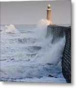 Tynemouth North Pier With Waves Metal Print