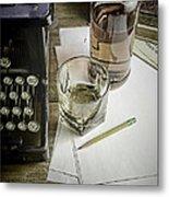 Typewriter And Whiskey Metal Print