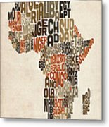 Typography Text Map Of Africa Metal Print by Michael Tompsett