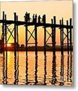 U Bein Bridge - Myanmar Metal Print