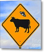 Ufo Cattle Crossing Sign In New Mexico Metal Print