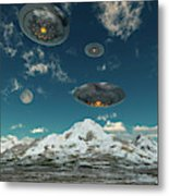 Ufos Flying Over A Mountain Range Metal Print