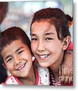 Uighur Children At Kashgar Market Xinjiang China Metal Print
