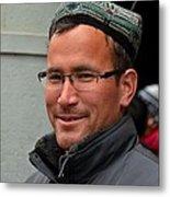Uighur Man In Traditional Cap Smiles Metal Print