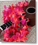 Ukulele And Red Lei Metal Print