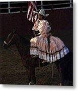 July 4th Rodeo Hispanic Female Rider Charreada Chandler Arizona 1999-2014 Metal Print