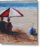 Umbrella Beach Metal Print