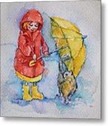 Umbrella Girl With A Kitty Metal Print