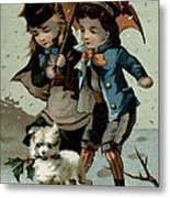 Umbrella In The Snow, Victorian Postcard Metal Print