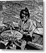 Umbrella Maker Bw Metal Print