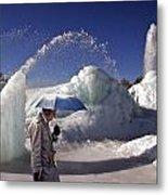 Umbrella Man At Frozen Fountain Metal Print