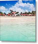 Umbrellas And Chairs On Grace Bay Beach Metal Print