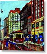 Umbrellas In The Rain Couples Stroll St.catherine Street Downtown Montreal Vintage  City Scene  Metal Print