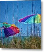 Umbrellas On Sanibel Island Beach Metal Print