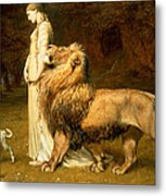 Una And Lion From Spensers Faerie Queene Metal Print by Briton Riviere