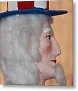 Uncle Sam Closeup Red White And Blue Metal Print