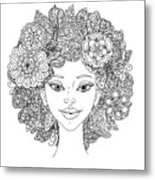 Uncolored Girlish Face For Adult Metal Print