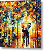 Under One Umbrella - Palette Knife Figures Oil Painting On Canvas By Leonid Afremov Metal Print