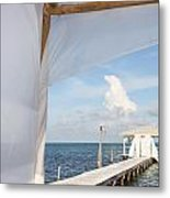 Under The Bamboo Lanai Caye Caulker Belize Metal Print