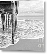 Under The Boardwalk Black And White Metal Print