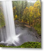 Under The Falls With Autumn Colors In Oregon Metal Print