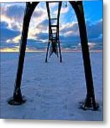 Under The Pier In St. Joseph At Sunset Metal Print