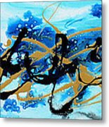 Under The Sea Original Abstract Blue Gold Painting By Madart Metal Print