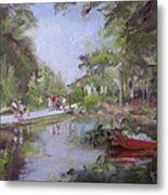 Under The Willows In The Crystal Bridges Pond Metal Print