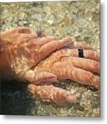 Underwater Hands Metal Print