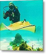 Underwater Photographer And Stingray Metal Print