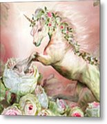 Unicorn And A Rose Metal Print