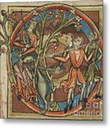 Unicorn Enticed By A Virgin Metal Print