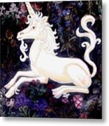 Unicorn Floral Metal Print by Genevieve Esson