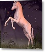 Unicorn In A Moonlit Forest Glade Metal Print