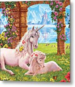 Unicorn Mother And Foal Metal Print