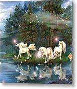Unicorn Wizard Pool Metal Print