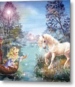 Unicorns Lake Metal Print