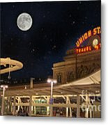 Union Station Denver Under A Full Moon Metal Print