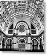 Union Station Lobby Black And White Metal Print