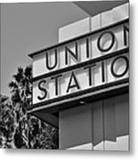 Union Station Sign Black And White Metal Print