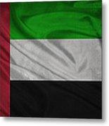 United Arab Emirates Flag Waving On Canvas Metal Print
