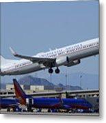United Boeing 737-924 N75436 Continental Retro Taking Off Phoenix Sky Harbor March 6 2015 Metal Print